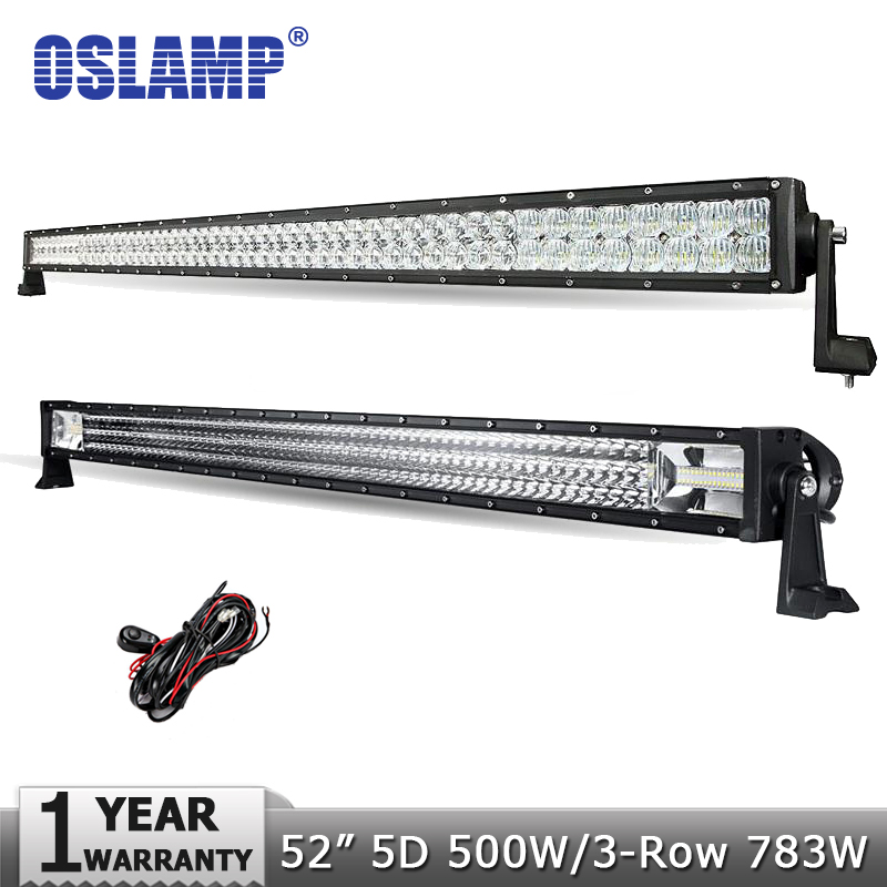 "Oslamp 52"" 5D 500W/3-Row 783W Offroad LED Light Bar CREE Chips Led Work Light Combo for <font><b>Jeep</b></font> Pickup 4x4 SUV 4WD Truck 12V 24V"