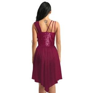 Image 3 - נשים מבוגרים שיפון בלט שמלת ספגטי רצועות שרוולים פאייטים סדיר מודרני ריקוד בלט התעמלות בגד גוף שמלה