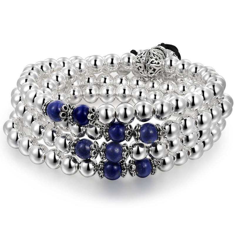 L P 100 925 Silver Beads Lapis Lazuli hand bracelet for women Top quality National Style