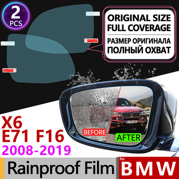 for BMW X6 E71 F16 2008~2019 Full Cover Anti Fog Film Rearview Mirror Rainproof Anti-Fog Films Accessories 2012 2014 2015 2016 image