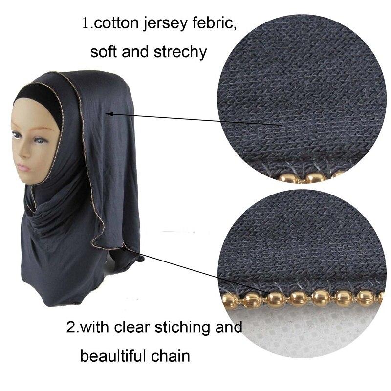En gros 10 pièces En Jersey de Coton Pour Les Femmes Musulmanes Hijab Avec Un Décor De La Chaîne Plaine Islamique Foulards Couvre-chef Femmes Tête Foulard 170*50 cm