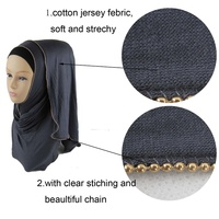 Wholesale 10pcs Cotton Jersey For Women Muslim Hijab With Chain Decor Plain Islamic Scarves Head Cover Women Head Scarf 170*50cm