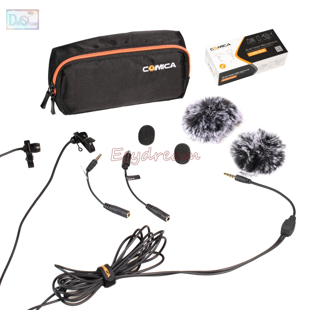 COMICA 6M Dual-head Lavalier Microphone Omnidirectional Condenser Mic for DSLR Camera Smartphone GoPro Interview Youtube CVM-D02