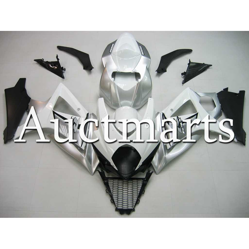 Custom-Made Complete Fairings For 2007 2008 <font><b>Suzuki</b></font> <font><b>GSXR1000</b></font> <font><b>K7</b></font> Plastic Hull <font><b>GSXR1000</b></font> ABS Injection Silver White Cowlings image