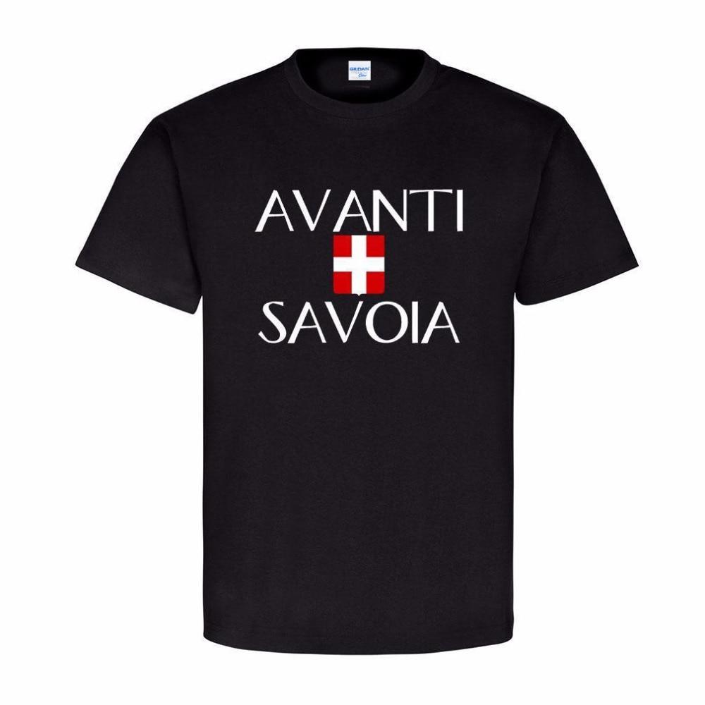 2018 Summer Style Free Shipping T shirt Design Avanti Savoia Italien Schlachtruf Wappen Abzeichen Haus Savoyen Tee Shirt