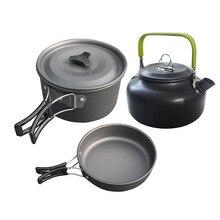 3Pcs cookware di Campeggio Esterna set di pentole di campeggio di cottura stoviglie set da tavola di viaggi Posate Utensili da trekking picnic set