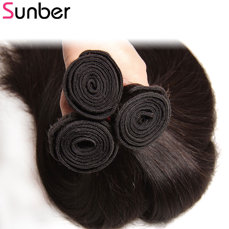 Sunber Hair Peruvian Straight Hair Bundles 3PCS Remy Human Hair Weaves Natural Black Color Double We