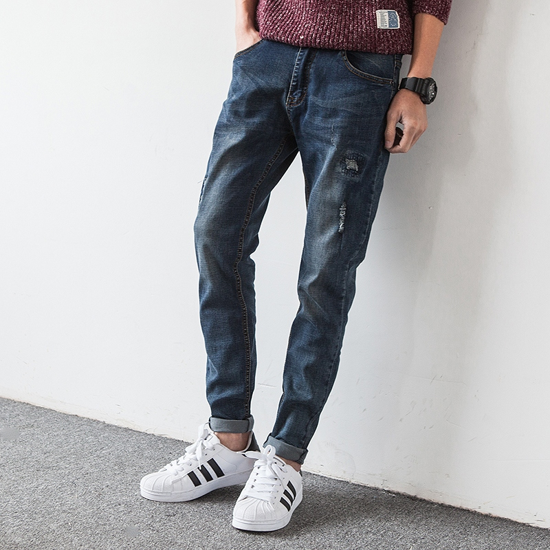 Aliexpress.com : Buy Korean Slim Fit Jeans Men Pants Scratched ...