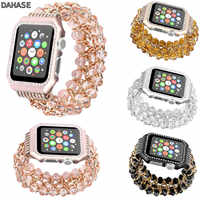 DAHASE Jewel Beads Metal Chain Bracelet for Apple Watch Band 38/42mm Bling Diamond Cover for iWatch Series 1/2/3 Wrist Strap