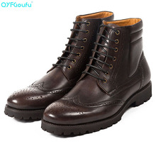 QYFCIOUFU NEW Spring/Autumn Vintage Mens Chelsea Boots Genuine Leather Men Casual Lace-Up Bullock Ankle