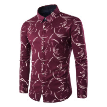 Brand New Winter Warm Velvet Inside Men's Turn Down Collar Casual Shirt Social Floral Print Shirt Full Sleeve