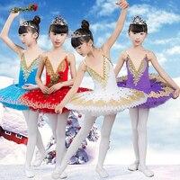 2019 New Professional Ballet Tutu Child Swan Lake Costume White Red Blue Ballet Dress for Children Pancake Tutu Girls Dancewear
