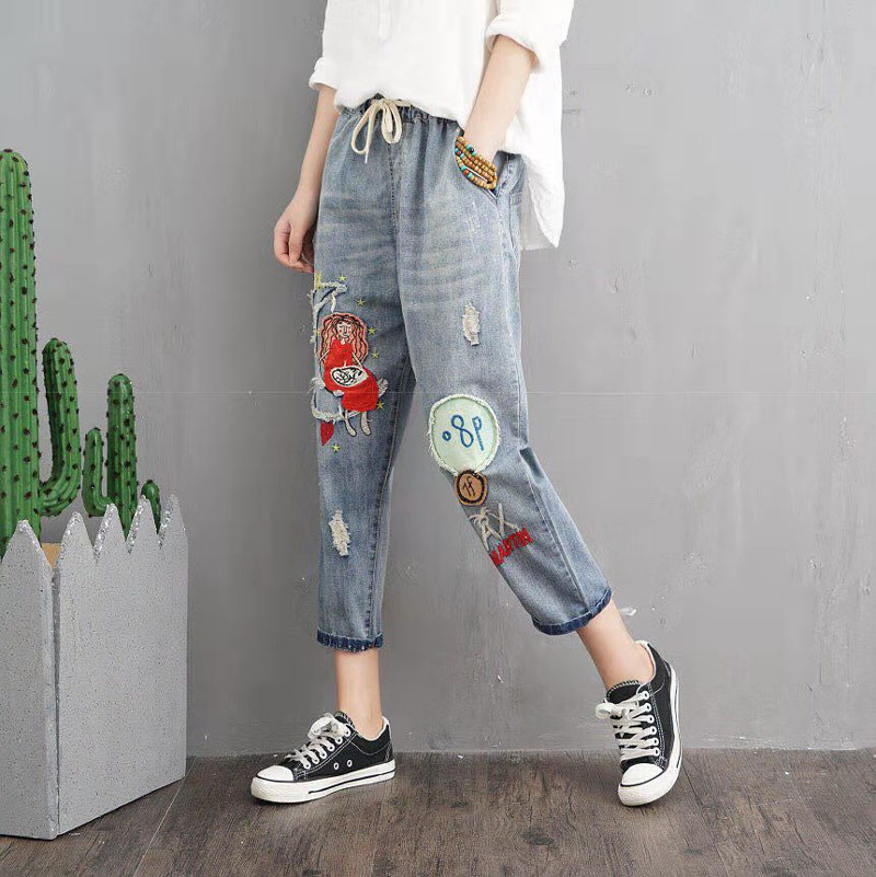 Bottoms Women's Clothing Qpfjqd Summer National Mori Girl Cats Patchwork Cartoon Embroidery Jeans Pants Hole Elastic Waist Casual Ladies Cowboy Trousers To Help Digest Greasy Food