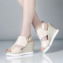 цены 2019 summer new women's sandals comfortable wedge with high heel fashion waterproof platform open toe slim sandals