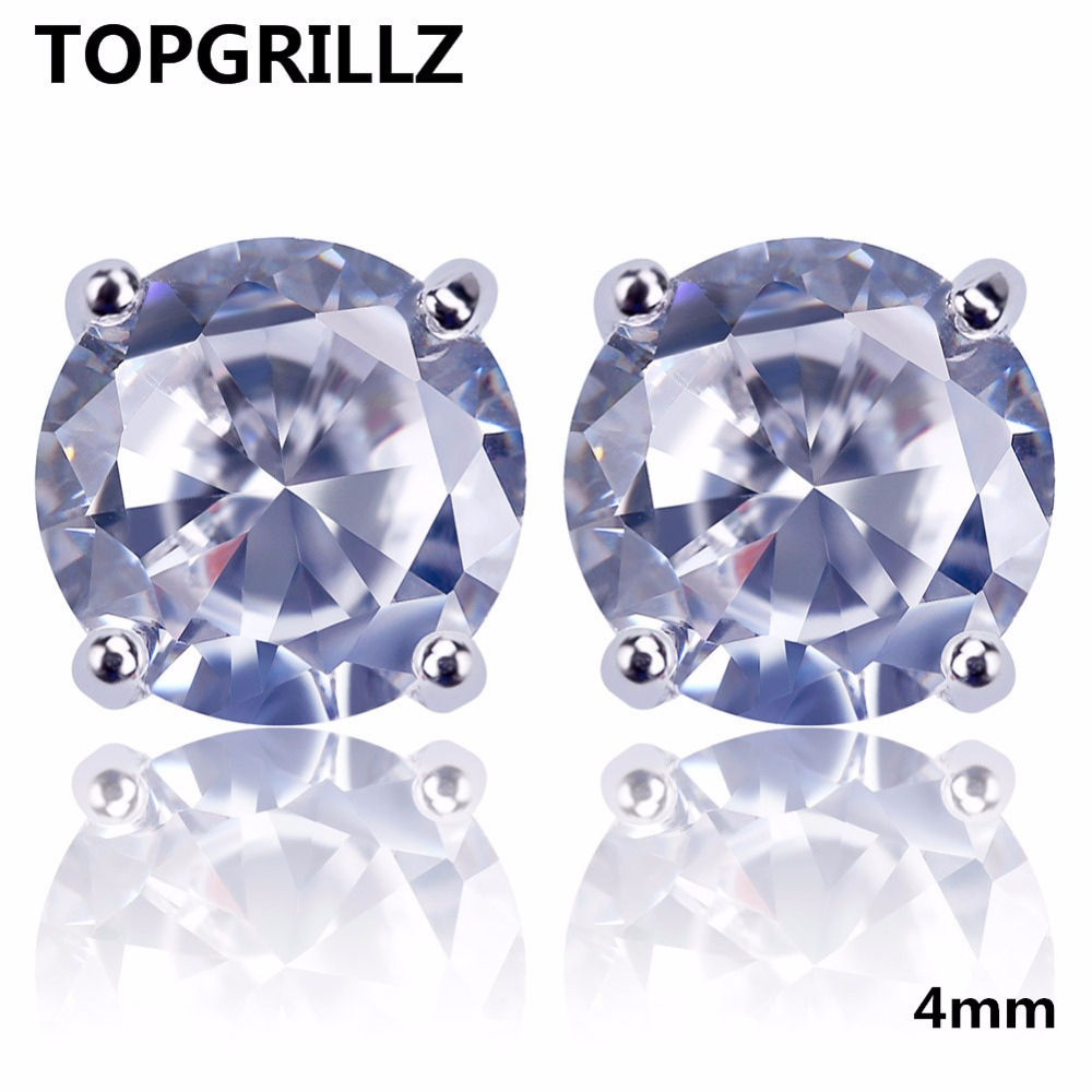 TOPGRILLZ Hip Hop New Fashion Bling Earring Gold/Silver Color Micro Pave 4mm CZ Stone Lab D Stud Earings With Screw Back