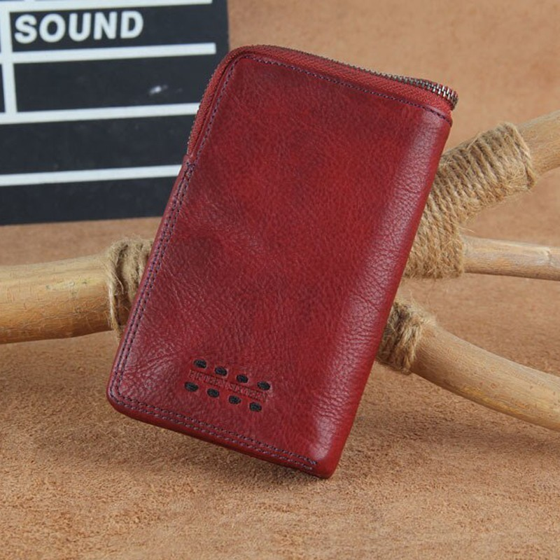Small purse men's handmade leather ultra-thin soft leather wallet for Women first layer leather wallet short zipper buckle