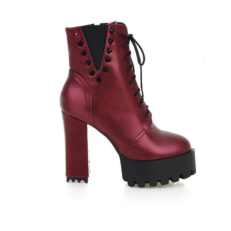 Mode Rivet 5cm wine D'hiver 11 Dames Heel Vin Femmes gray Zip Talons Punk Chaussures Chunky Red Lacent Plate Noir Rouge Black Bottes forme Heel Heel Cheville Hauts xTwAfq07R