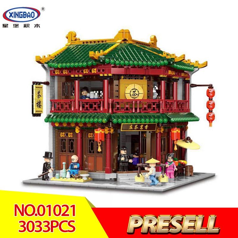 XINGBAO 01021 3033Pcs Chinese Building Series The Toon Tea House Set Children Building Blocks Bricks Educational Toys Kids DIY