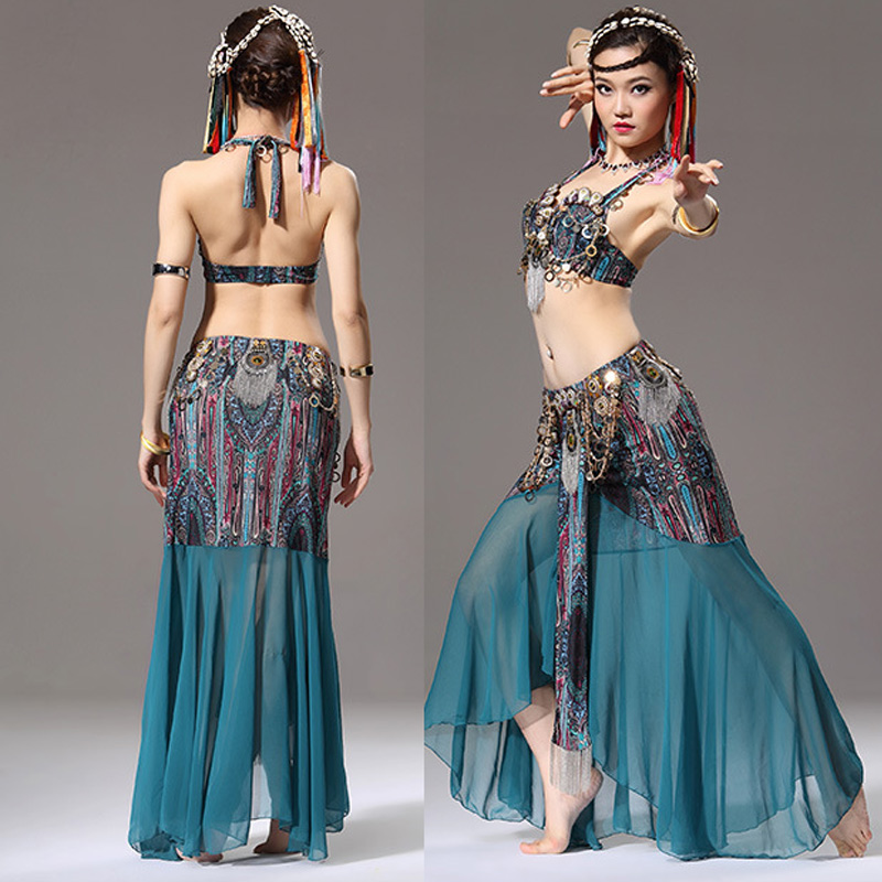 Women Bra with Skirt Belly Dance Suit Ceramic Metal Decor Backless Dancing Performance Set -MX8