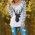 Fanala novo outono de 2016 harajuku t shirt mulheres casual impresso t-shirt do Raglan Feminina camisetas SlimTees Topos Do Punk Plus Size 58