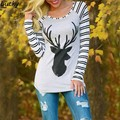 Fanala nuevo otoño 2016 harajuku mujeres de la camiseta ocasional impresa SlimTees de Raglán de la camiseta Mujer camisetas Tops Punk Más El Tamaño 58