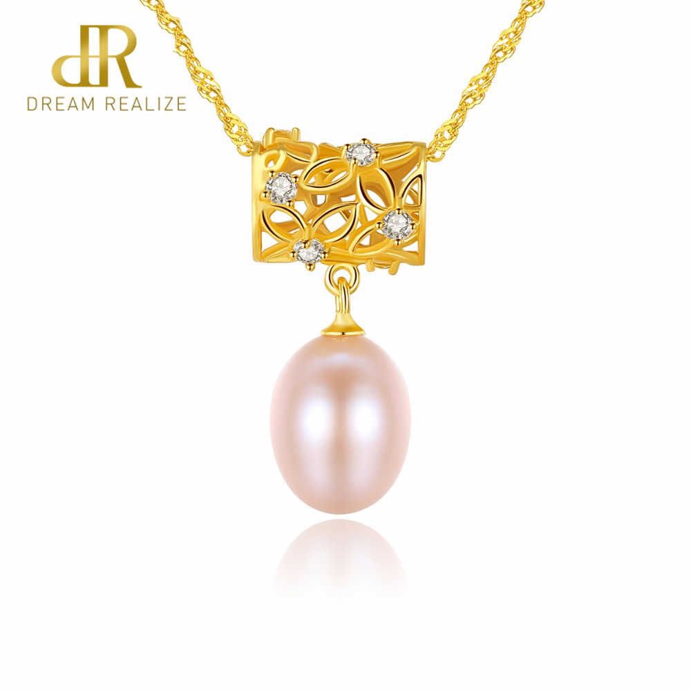 DR Original White/Pink/Purple Pearls 18K Gold Pendant Natural Freshwater Pearl 925 Silver Necklace for Women Christmas Gift yoursfs heart necklace for mother s day with round austria crystal gift 18k white gold plated