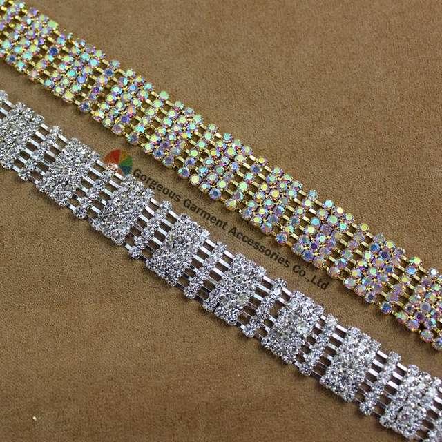1yard 15mm Bling Clear AB Crystal Chain Silver Gold Set For DIY Horse  Browband Garment Wedding Rhinestone Applique Trims 11a5ac9b07dd