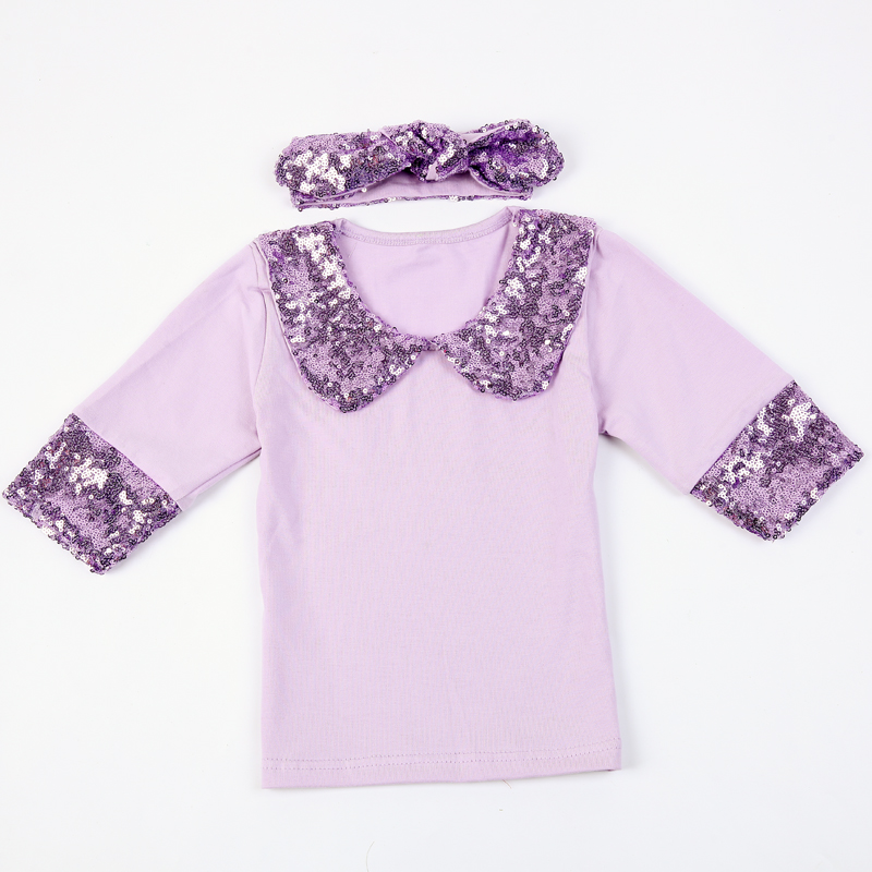 c6b73eee50b6f1 Girls gold sequin peter pan collar shirt with long sleeve and sequin  headband-in Tees from Mother   Kids on Aliexpress.com
