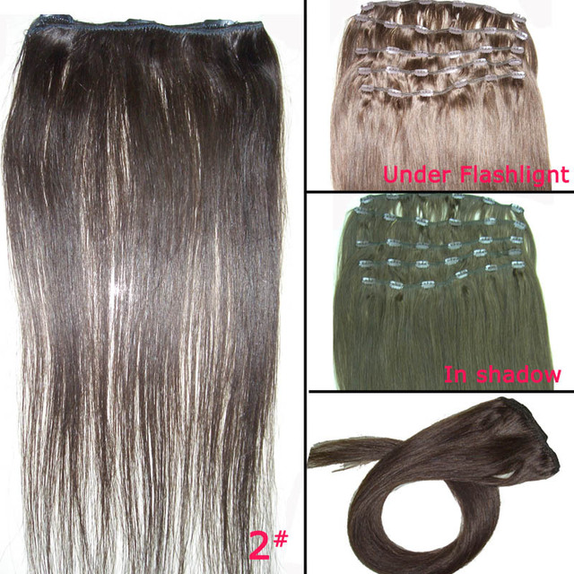 FREE SHIPPING 18 Inches 5Pcs/ Lot Brasileira Virgem Cabelo Humano Hair Straight Clip In Hair Extension Hair Accessories