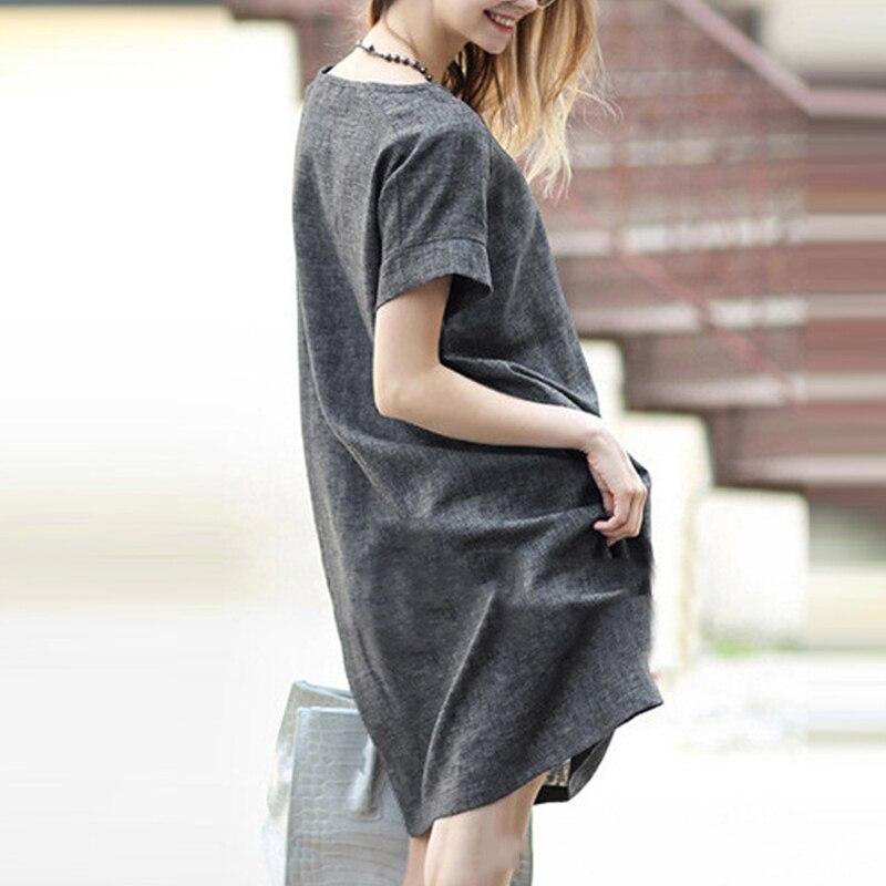 Amoin más mujeres del tamaño 5xl gris de manga corta dress con bolsillos de Moda de Verano de Algodón y Lino Hasta La Rodilla Floja Ocasional dress