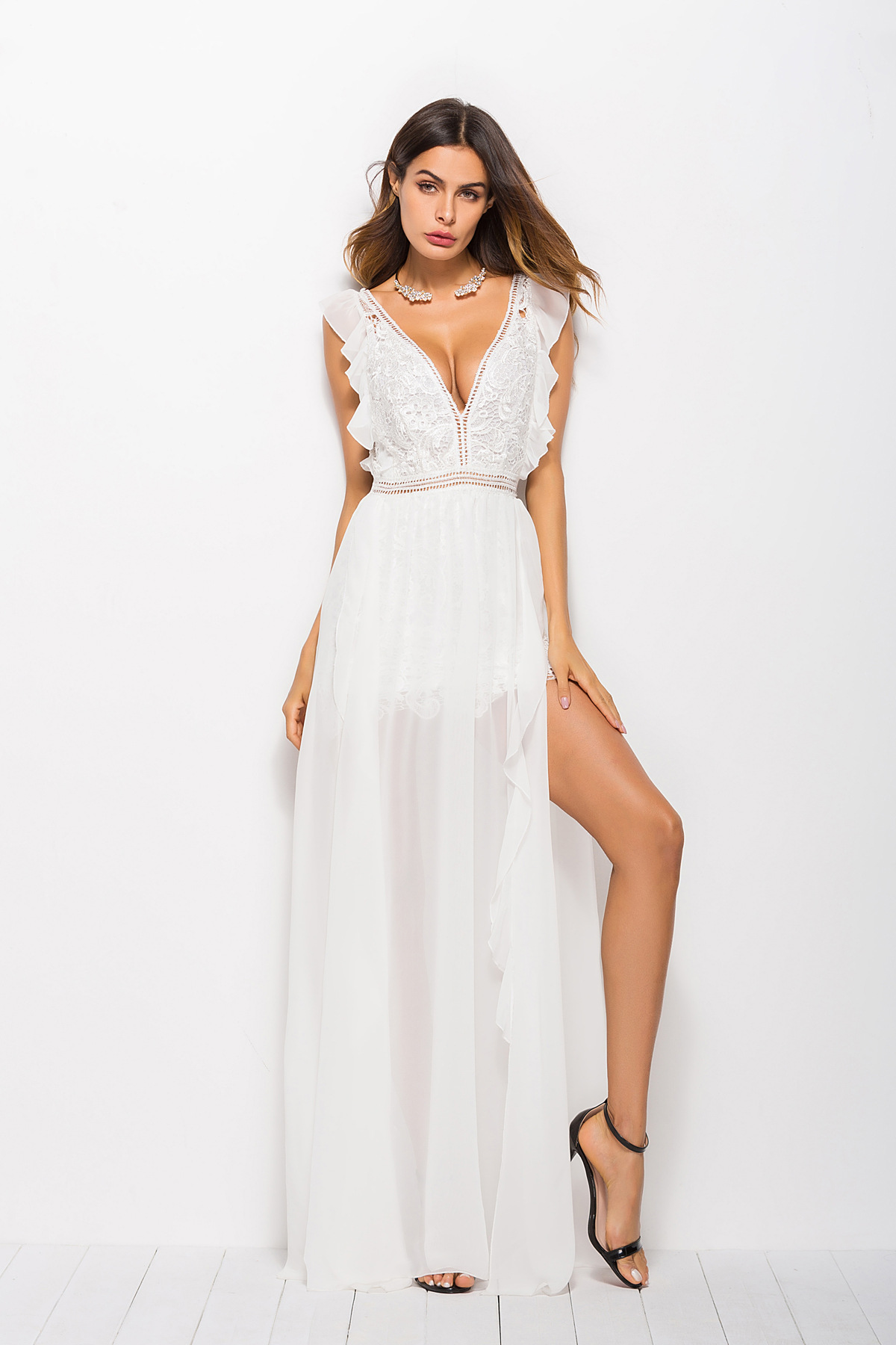 2b67d39a4e ArtSu Sexy Hollow Out White Lace Dress Women High Split Crochet Chiffon  Maxi Party Dress Ruffle V Neck Elegant Robe Longue Femme-in Dresses from ...