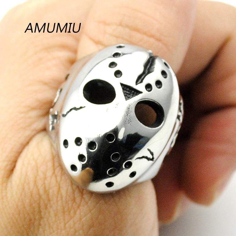 AMUMIU Black Friday Hockey Jason Mask SKull Rings Novel Mens 316L Stainless Steel Jewelry, ROCK, Biker, Wholesale, HZR041