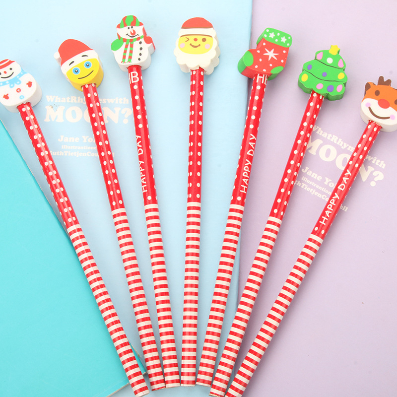 New Christmas pencils with rubber manufacturers direct students to study stationery Stationery office supplies for students [factory direct selling] stationery direct liquid type office supplies neutral pen arp50901 length 150mm 12pcs set