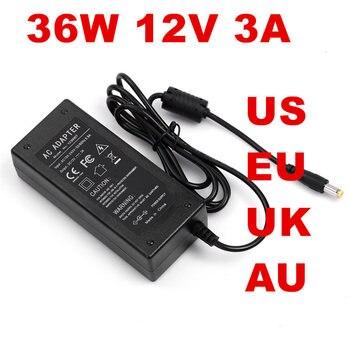 1PCS 36W 3A adaptador de alimentación de 12V 12v3a adaptador de CA AC100-240V a DC nos UE Reino Unido es CA línea 1,2 M + DC línea 1,2 M