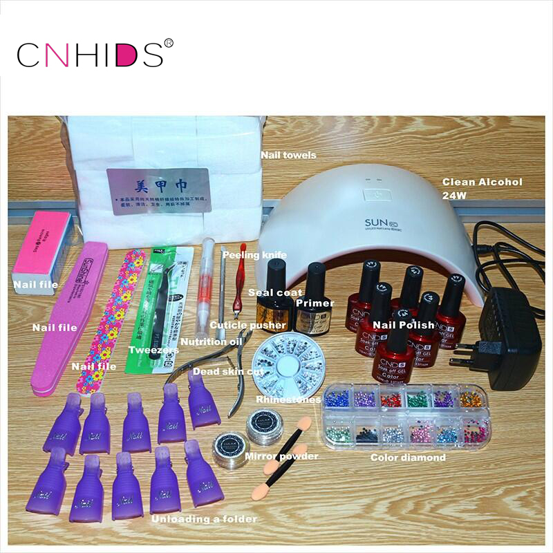 NEW 24W Professional UV Led Nail Gel 9C Lamp of Resurrection Nail Polish Tools and Portable five Soaked Nail Gel Art  Set