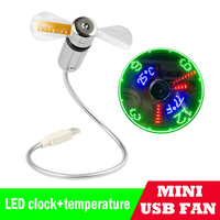 2019 New Mini USB LED Clock and Temperature Fan For laptop Adjustable Display Summer Cooling Fans Creative Office Desktop Gifts