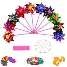 Toy Pinwheel Plastic Windmill Wind-Spinner Garden Kids Gift for Boys Girls Baby 10pcs