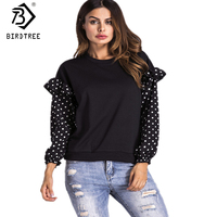 New Autumn Pullovers Polka Dot Patchwork Women Clothing Sweatshirts O Neck Loose Casual 2017 Women Black