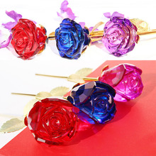 1 pcs Forever Crystal Rose Glass Flower Bud for Valentine's Day Gift Girlfriends Wife Anniversary Creative Birthday Gift