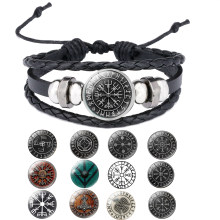 Men's jewelery Ax Wrap Anchor Viking Bracelet Men's Leather Accessories Slavonic Perun Bangle Bracelets(China)