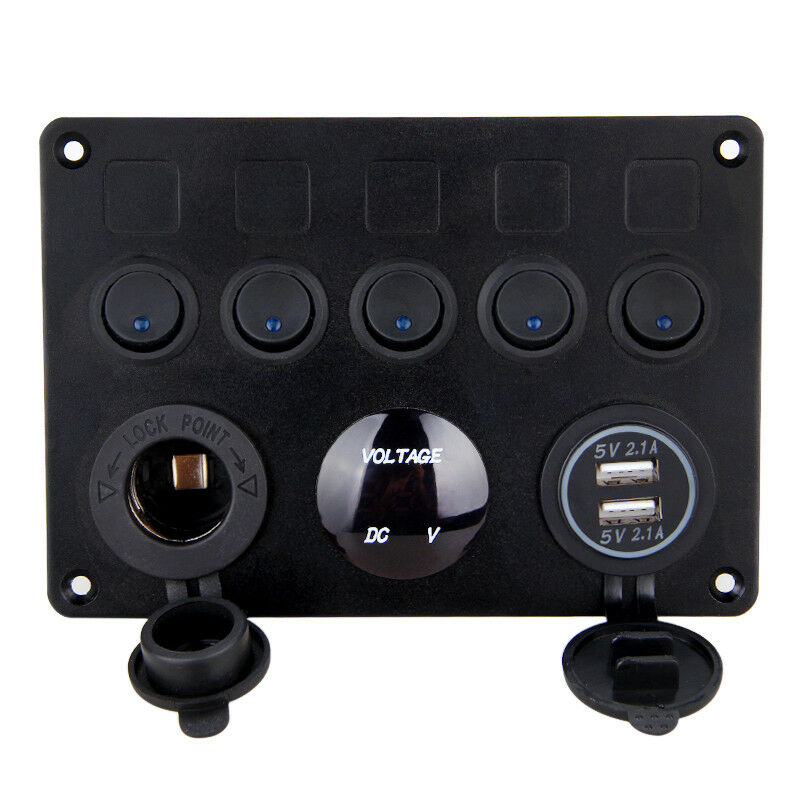 Inline Fuse Box LED Rocker Switch Panel 2 USB 12V 24V Socket Voltmeter Dual USB Socket Charger on Off Switch Boat Marine Truck in Car Switches Relays from Automobiles Motorcycles