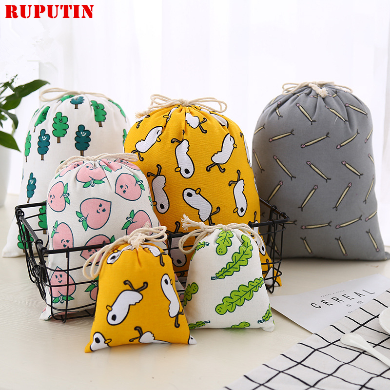 RUPUTIN New Women's Cotton Cartoon Drawstring Bag Travel Makeup Bags Bundle Of Small Pocket Cosmetic Bag Travel Accessories Bags