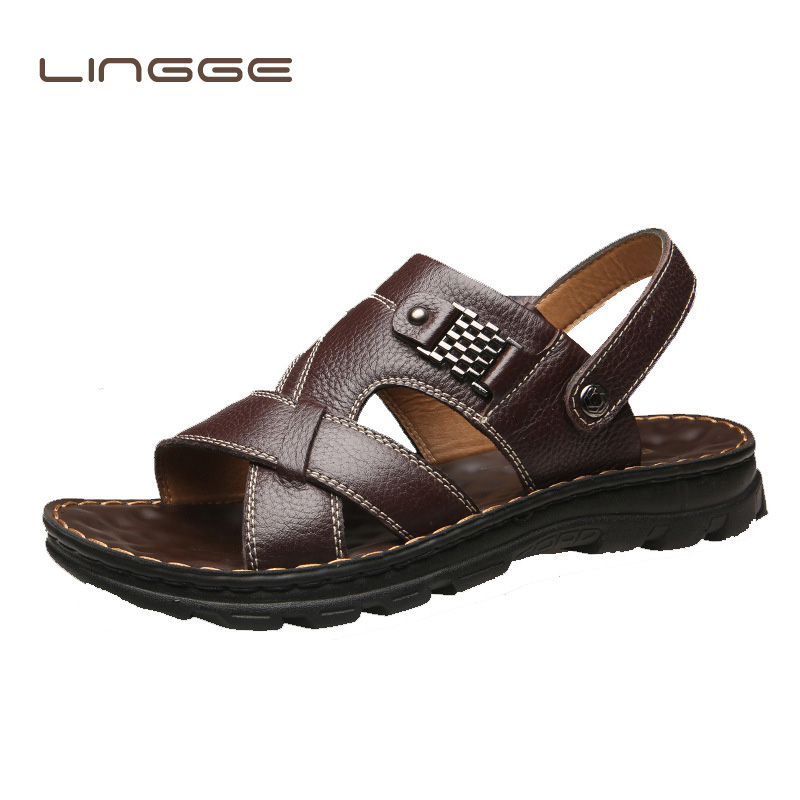 Men's Summer Sandals Brand Leather Beach Sandals For Male Adult Slip-on Men Casual Shoes Black Big Size Comfortable Outdoor Shoe