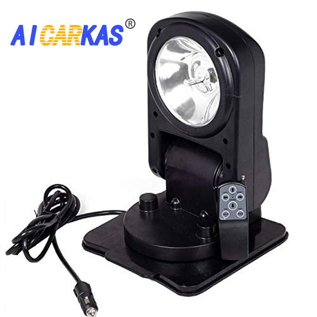 AICARKAS 12V 24V 55W 6000K HID Xenon Searchlight with Wireless Remote Control Searching Light for Off Road ATV SUV Trucks Boats