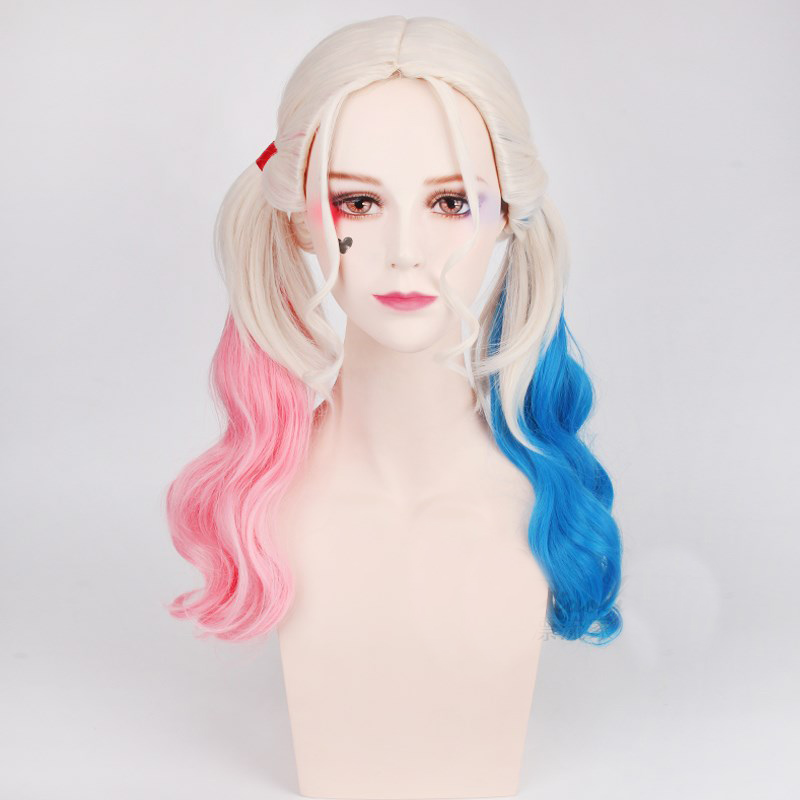 Suicide Squad Harley Quinn Wigs Cosplay Peluca Styled Curly Synthetic Ponytail Wig Heat Resistant Hair + Wig Cap