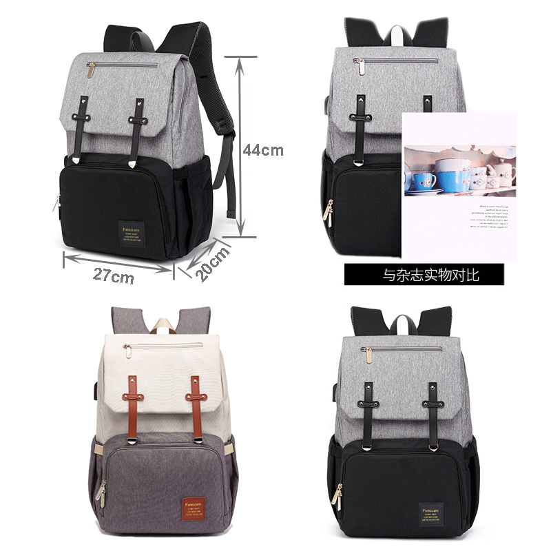 New Mummy Diaper Bag Baby Stroller Bag USB Charging Waterproof Oxford Women Handbag Maternity Nursing Nappy backpack Travel Bags 1