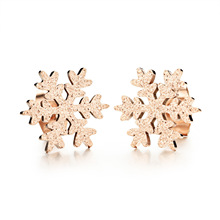 Full Stainless Steel Snowflake Woman Stud Earrings Rose Gold Plated 316L Women Girls Fashion party Jewelry gift