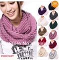High Quality Fashion Women Warm Knit Neck Circle Wool Cowl Snood Long Scarf Shawl Wrap,50pcs/lot, Free Shipping By EMS