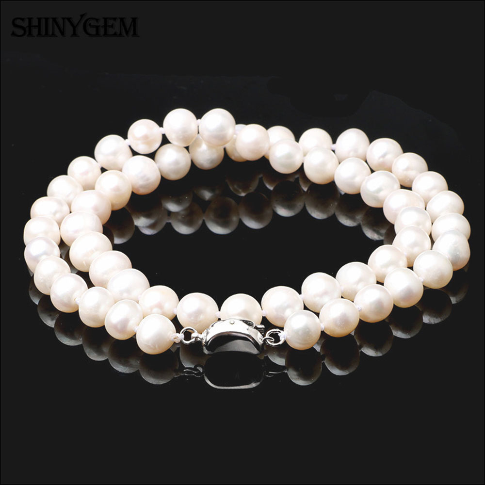 ShinyGem 7-9mm Round Freshwater Pearl Necklaces 925 Sterling Silver Pearl Necklaces Real Natural Pearl Long Necklaces For Women