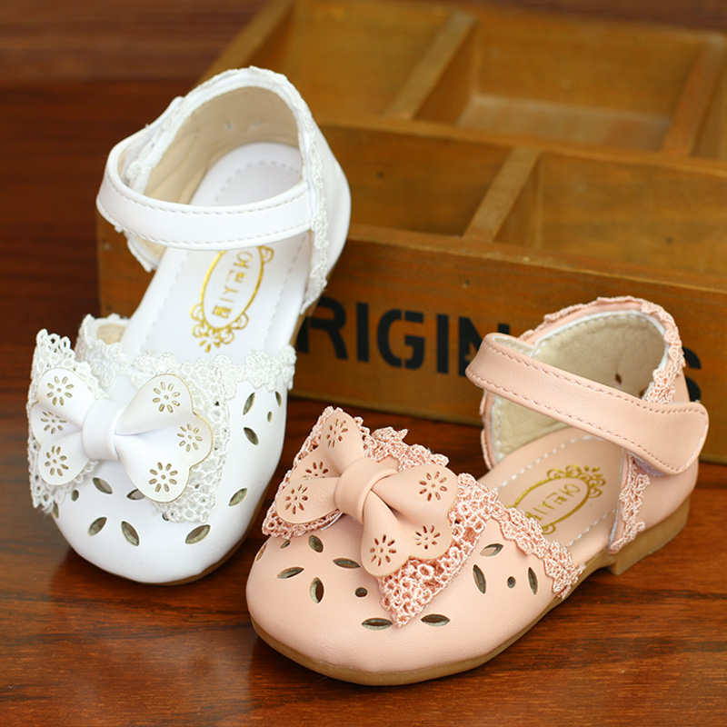 Baby Sandals Girls Baby Summer 0-1-3 Years Non-slip Soft Bottom Girl Princess Shoes Toddler Shoes Bowtie Hollow Out Sandals